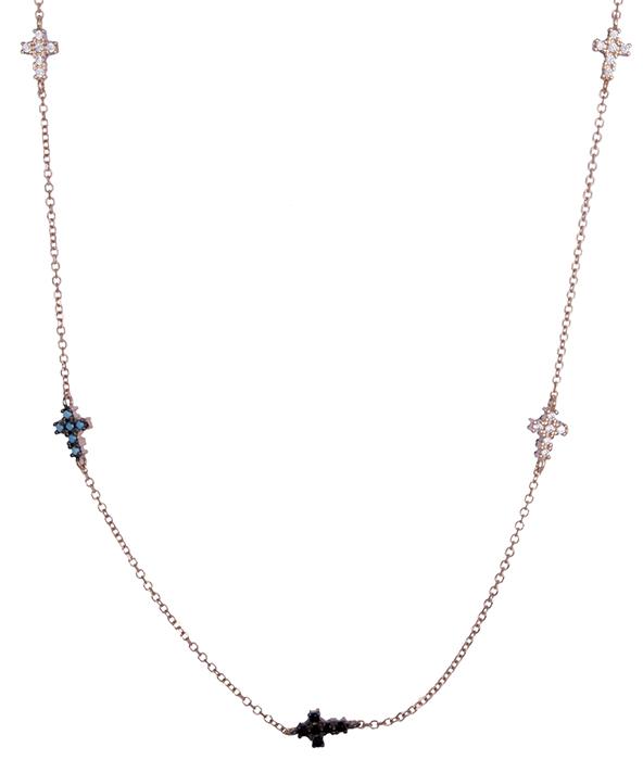 Ροζ χρυσό κολιέ με πετράτα σταυρουδάκια Κ14 020426 020426 Χρυσός 14 Καράτια