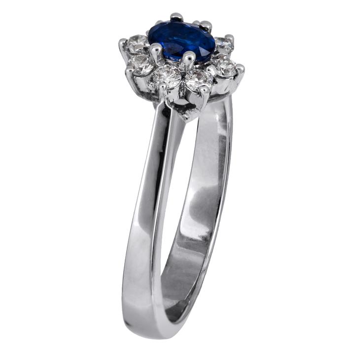 Λευκόχρυση ροζέτα δαχτυλίδι Κ18 με ζαφείρι 020446 020446 Χρυσός 18 Καράτια