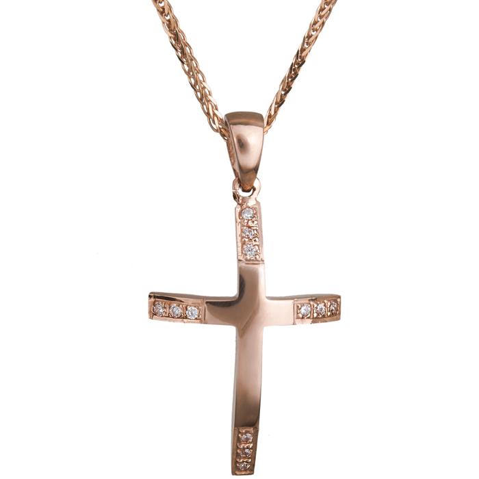 Βαπτιστικοί Σταυροί με Αλυσίδα Σταυρός για κορίτσι σε ροζ χρυσό Κ14 C020470 020470C Γυναικείο Χρυσός 14 Καράτια