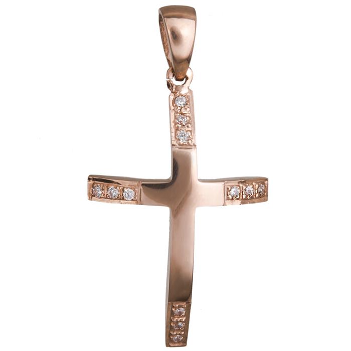 Σταυροί Βάπτισης - Αρραβώνα Γυναικείος σταυρός σε ροζ χρυσό Κ14 020470 020470 Γυναικείο Χρυσός 14 Καράτια