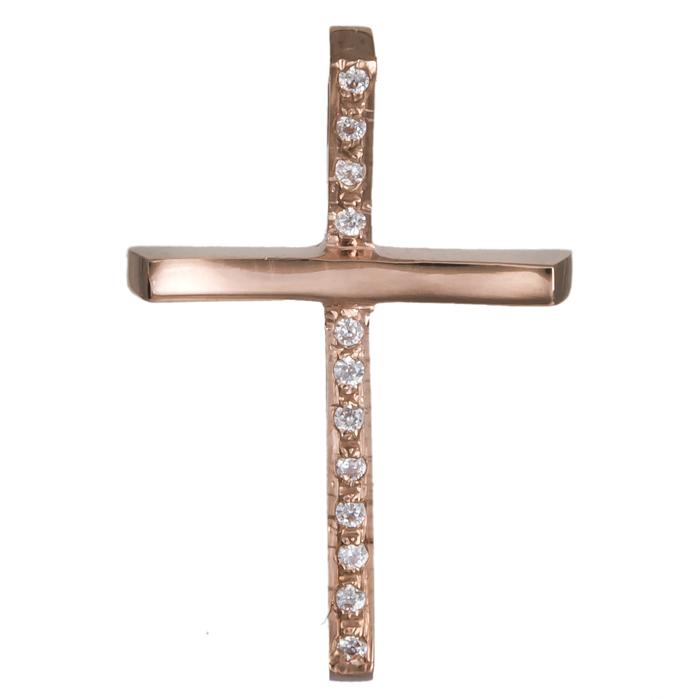 Σταυροί Βάπτισης - Αρραβώνα Ροζ χρυσός γυναικείος σταυρός με ζιργκόν Κ14 020475 020475 Γυναικείο Χρυσός 14 Καράτια