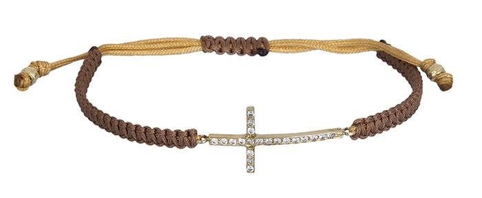 Μακραμέ βραχιόλι με πετράτο σταυρό Κ14 020483 020483 Χρυσός 14 Καράτια