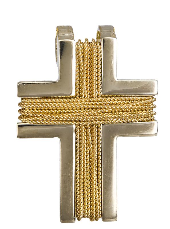 Σταυροί Βάπτισης - Αρραβώνα Χρυσός συρματερός σταυρός Κ14 020493 020493 Ανδρικό Χρυσός 14 Καράτια