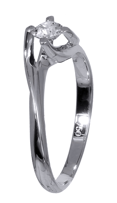 Λευκόχρυσο μονόπετρο Κ18 με διαμάντι 020768 020768 Χρυσός 18 Καράτια