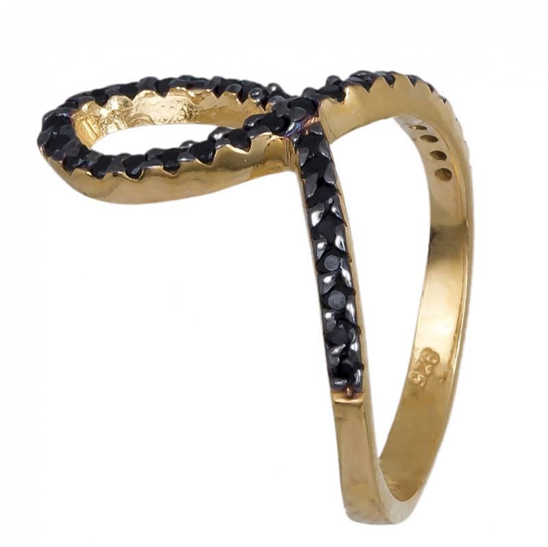 Δαχτυλίδι γυναικείο επίχρυσο 925 με μαύρες ζιργκόν 020593 020593 Ασήμι