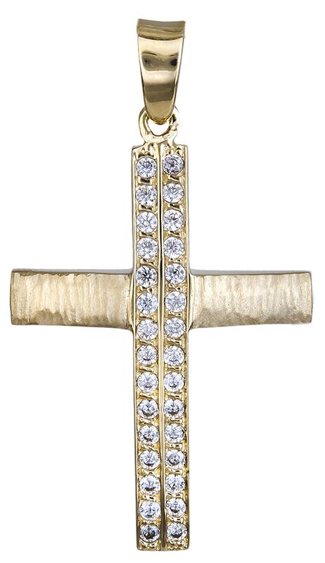 Σταυροί Βάπτισης - Αρραβώνα Γυναικείος σταυρός διπλής όψης Κ14 020596 020596 Γυναικείο Χρυσός 14 Καράτια