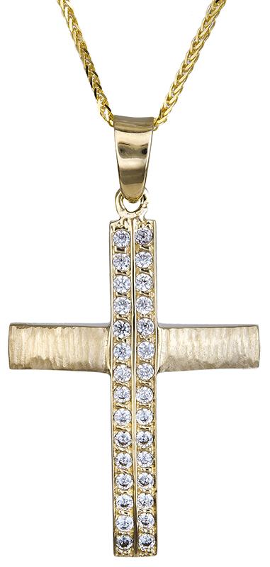 Βαπτιστικοί Σταυροί με Αλυσίδα Γυναικείος σταυρός με καδένα Κ14 C020596 020596C Γυναικείο Χρυσός 14 Καράτια