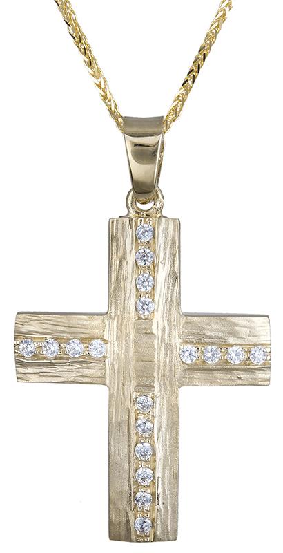 Βαπτιστικοί Σταυροί με Αλυσίδα βαπτιστικός σταυρός για κορίτσι 9Κ C020605 020605C Γυναικείο Χρυσός 9 Καράτια