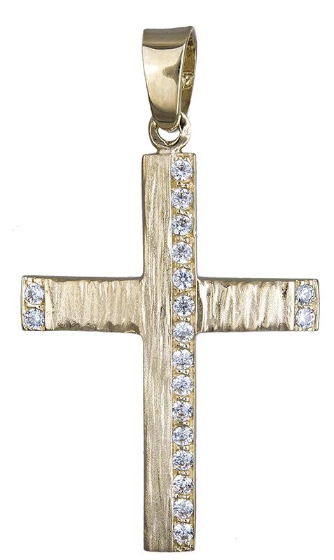 Σταυροί Βάπτισης - Αρραβώνα Βαπτιστικός σταυρός διπλής όψης Κ14 020606 020606 Γυναικείο Χρυσός 14 Καράτια
