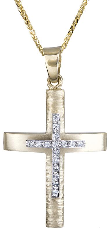 Βαπτιστικοί Σταυροί με Αλυσίδα Σταυρός για κορίτσι διπλής όψης Κ14 C020608 020608C Γυναικείο Χρυσός 14 Καράτια