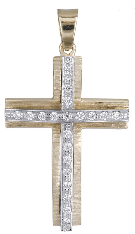 Σταυροί Βάπτισης - Αρραβώνα Γυναικείος δίχρωμος σταυρός Κ14 020612 020612 Γυναικείο Χρυσός 14 Καράτια