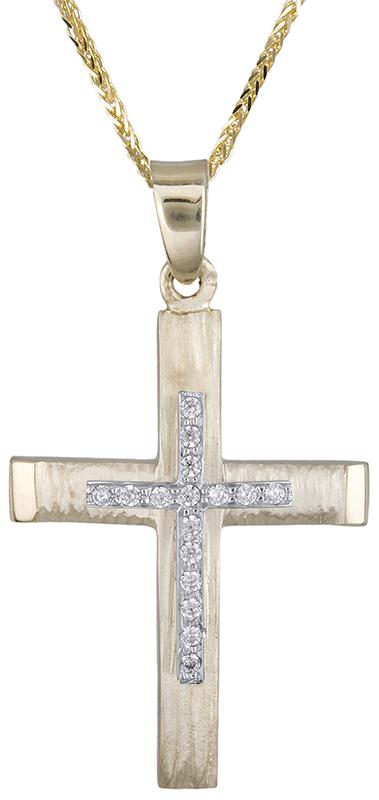Βαπτιστικοί Σταυροί με Αλυσίδα Γυναικείος σταυρός διπλής όψης Κ14 C020618 020618C Γυναικείο Χρυσός 14 Καράτια