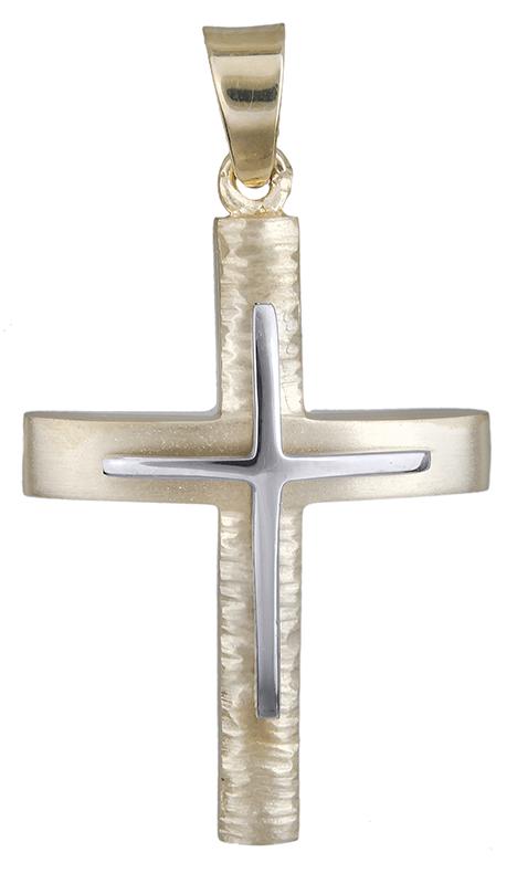 Σταυροί Βάπτισης - Αρραβώνα Αντρικός σταυρός δίχρωμος Κ14 020620 020620 Ανδρικό Χρυσός 14 Καράτια