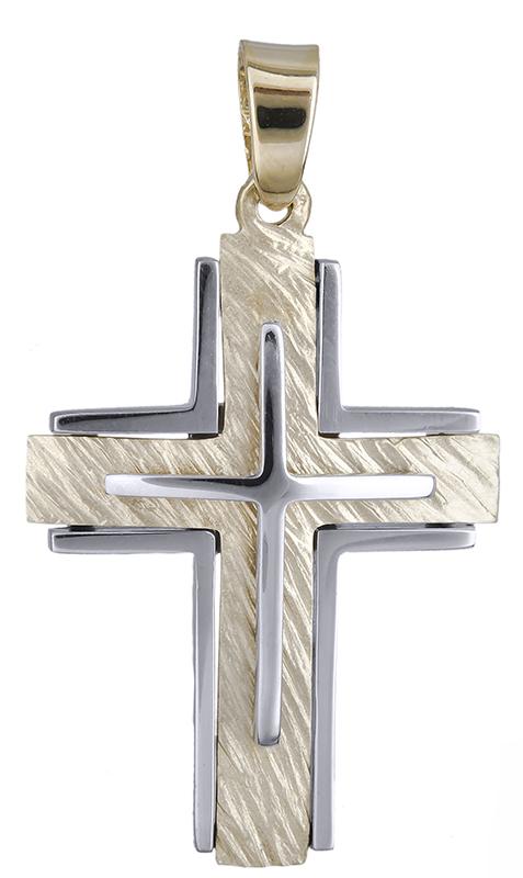 Σταυροί Βάπτισης - Αρραβώνα Δίχρωμος αντρικός σταυρός Κ14 020626 020626 Ανδρικό Χρυσός 14 Καράτια