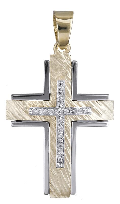 Σταυροί Βάπτισης - Αρραβώνα Γυναικείος σταυρός με ζιργκόν Κ14 020628 020628 Γυναικείο Χρυσός 14 Καράτια