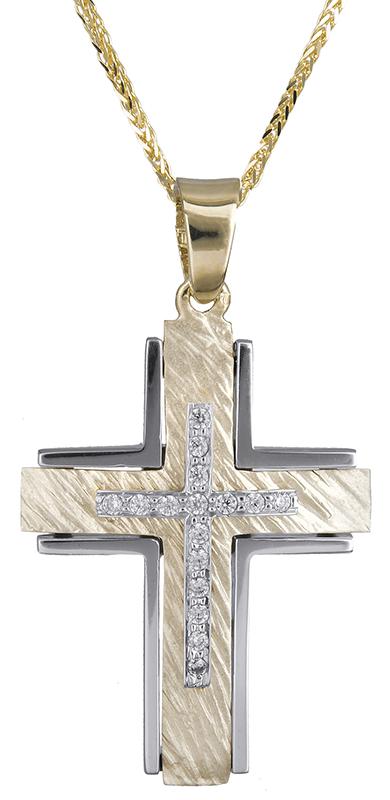 Βαπτιστικοί Σταυροί με Αλυσίδα Δίχρωμος σταυρός με καδένα 14Κ C020628 020628C Γυναικείο Χρυσός 14 Καράτια