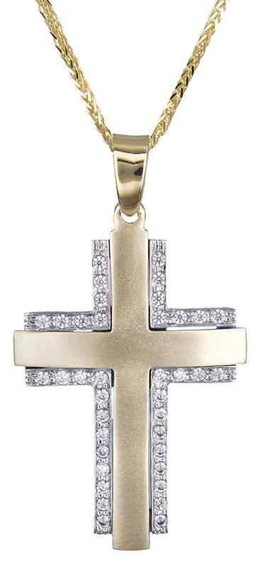 Βαπτιστικοί Σταυροί με Αλυσίδα Γυναικείος ματ σταυρός με ζιργκόν Κ14 C020632 020632C Γυναικείο Χρυσός 14 Καράτια
