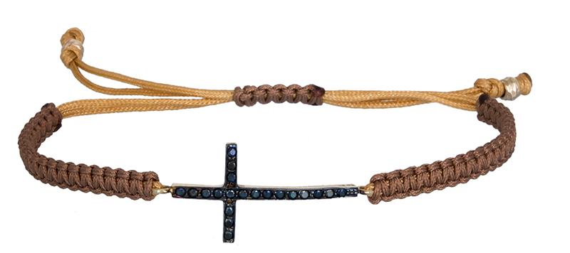 Βραχιόλι μακραμέ με πλάγιο σταυρό Κ9 020634 020634 Χρυσός 9 Καράτια