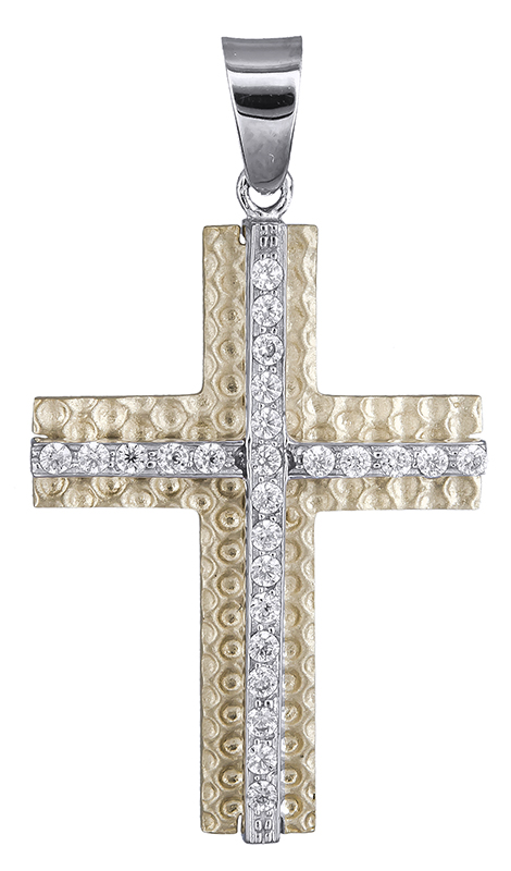 Σταυροί Βάπτισης - Αρραβώνα Γυναικείος σταυρός με πέτρες Κ14 020636 020636 Γυναικείο Χρυσός 14 Καράτια