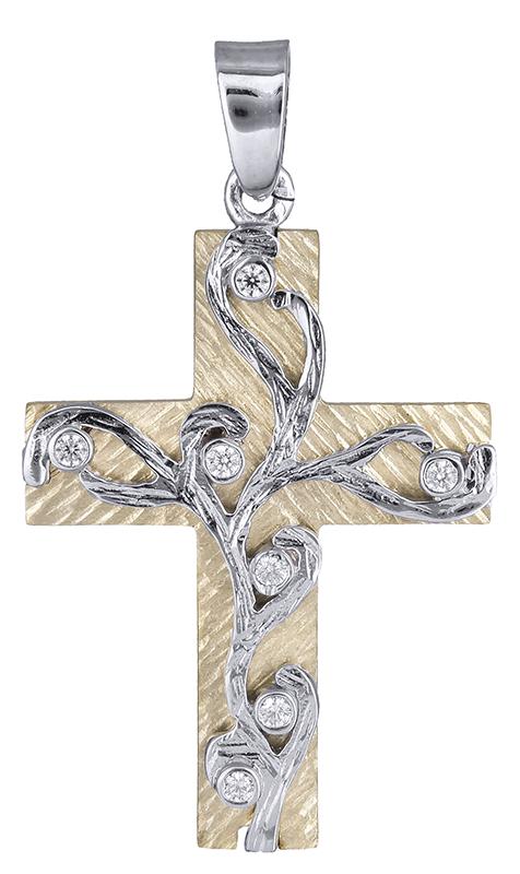 Σταυροί Βάπτισης - Αρραβώνα Γυναικείος δίχρωμος σταυρός Κ14 020656 020656 Γυναικείο Χρυσός 14 Καράτια