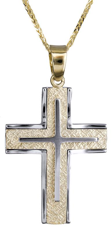 Βαπτιστικοί Σταυροί με Αλυσίδα Σταυρός αντρικός δίχρωμος Κ14 C020665 020665C Ανδρικό Χρυσός 14 Καράτια