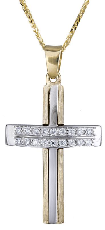 Βαπτιστικοί Σταυροί με Αλυσίδα Βαπτιστικός σταυρός με ζιργκόν 9Κ C020673 020673C Γυναικείο Χρυσός 9 Καράτια