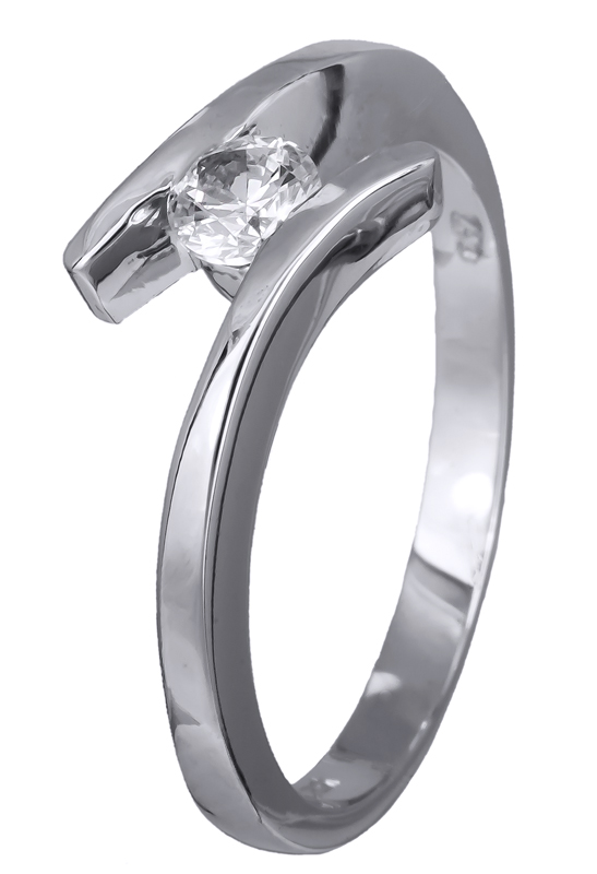 Δαχτυλίδι μονόπετρο λευκόχρυσο Κ14 020698 020698 Χρυσός 14 Καράτια