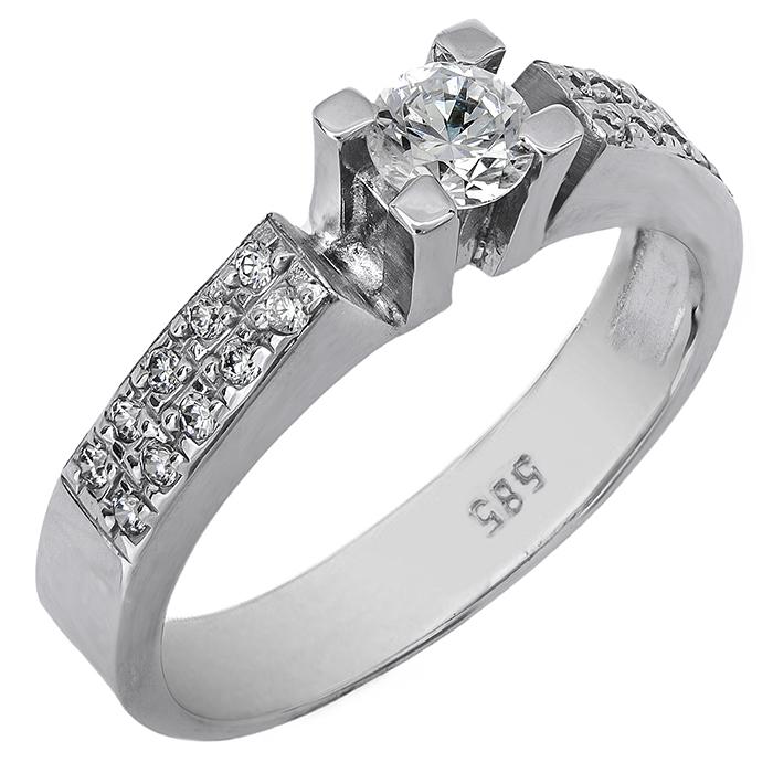 Μονόπετρο δαχτυλίδι αρραβώνων λευκόχρυσο Κ14 020701 020701 Χρυσός 14 Καράτια