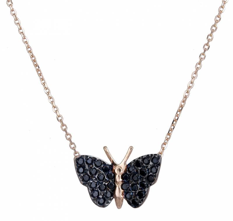 Κολιέ ροζ gold 14Κ με πεταλούδα 020719 020719 Χρυσός 14 Καράτια