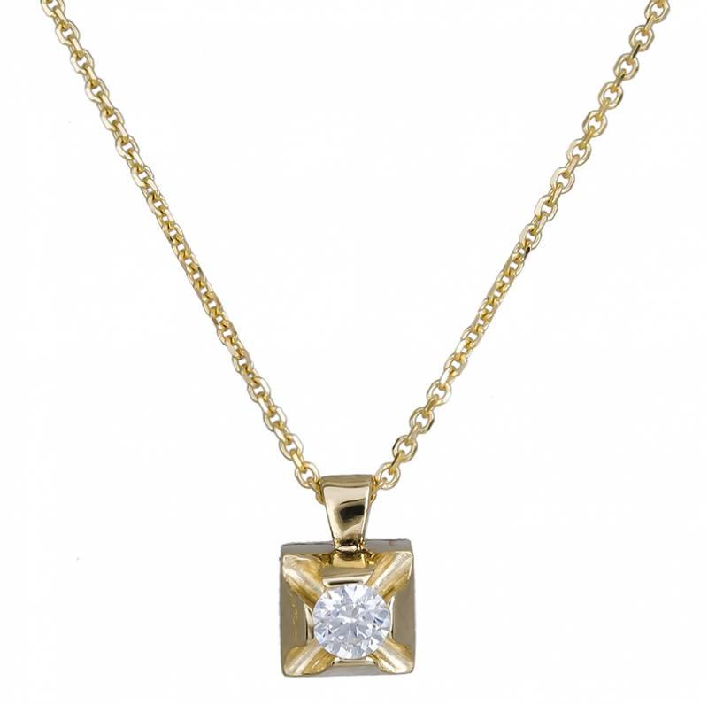 Μονόπετρο χρυσό κολιέ 14Κ 020722 020722 Χρυσός 14 Καράτια