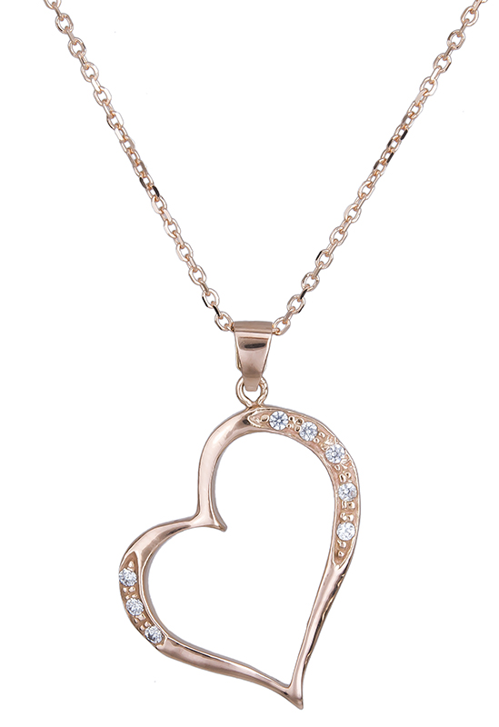 Ροζ χρυσό κολιέ Κ14 με καρδιά 020726 020726 Χρυσός 14 Καράτια