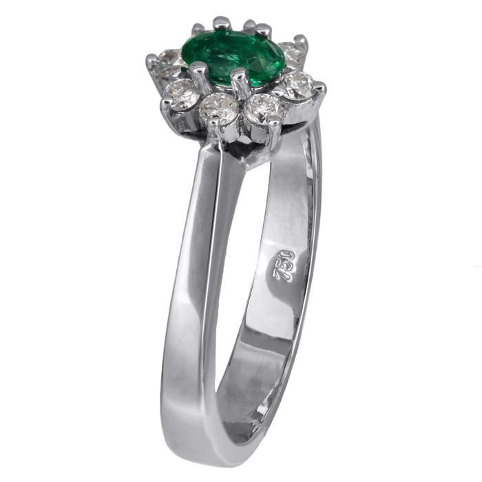Δαχτυλίδι ροζέτα Κ18 με σμαράγδι και διαμάντια 020793 020793 Χρυσός 18 Καράτια