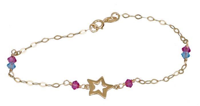 Παιδικό βραχιολάκι με αστέρι Κ9 020796 020796 Χρυσός 9 Καράτια