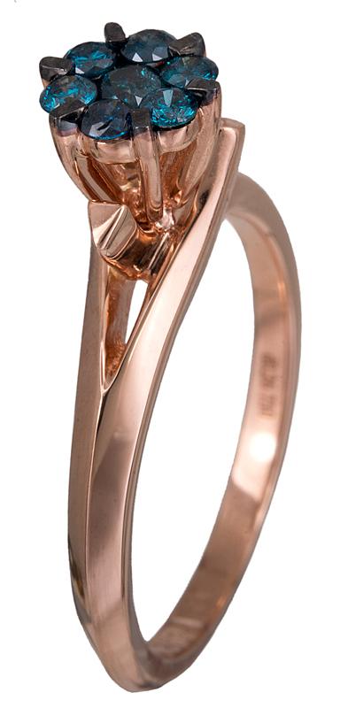Δαχτυλίδι αρραβώνων ροζ χρυσό Κ18 με μπλε διαμάντια 020842 020842 Χρυσός 18 Καρά χρυσά κοσμήματα δαχτυλίδια μονόπετρα