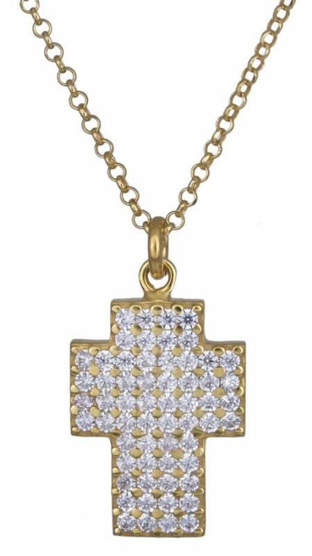 Γυναικείος επίχρυσος σταυρός με ζιργκόν 925 020876 020876 Ασήμι