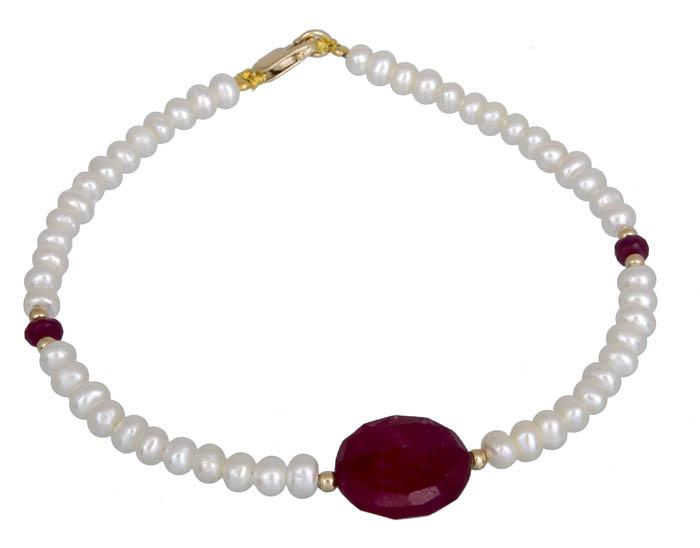 Βραχιόλι με μαργαριτάρια και ρουμπίνι Κ14 020887 020887 Χρυσός 14 Καράτια