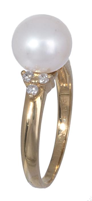 Χρυσό δαχτυλίδι 18Κ με μαργαριτάρι και διαμάντια 020890 020890 Χρυσός 18 Καράτια χρυσά κοσμήματα δαχτυλίδια με μαργαριτάρια και διάφορες πέτρες