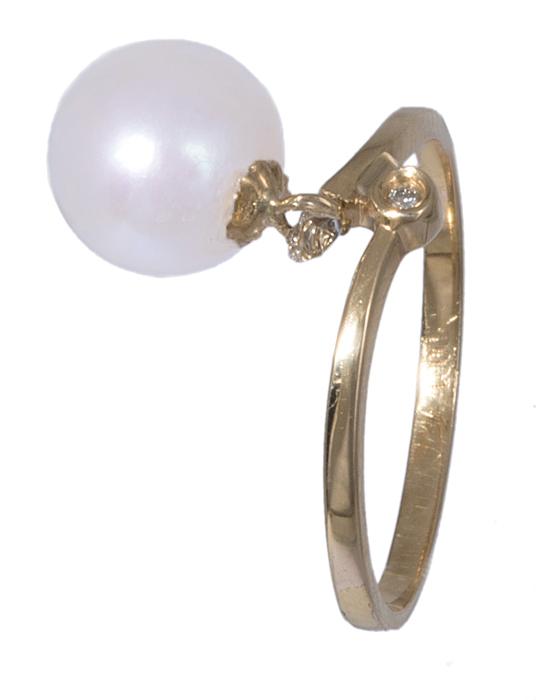 Δαχτυλίδι χρυσό 18Κ με μαργαριτάρι και μπριγιάν 020891 020891 Χρυσός 18 Καράτια