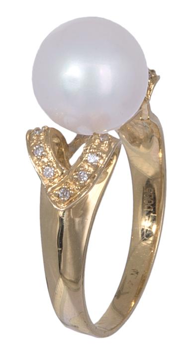 Δαχτυλίδι χρυσό 18Κ με μαργαριτάρι & διαμάντια 020896 020896 Χρυσός 18 Καράτια
