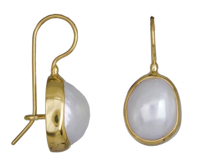Επίχρυσα ασημένια σκουλαρίκια με μαργαριτάρι 020905 020905 Ασήμι
