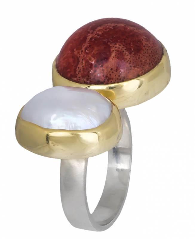 Δίχρωμο χειροποίητο δαχτυλίδι 925 020908 020908 Ασήμι ασημένια κοσμήματα δαχτυλίδια