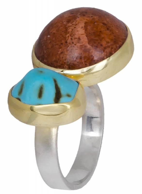 Χειροποίητο δαχτυλίδι 925 με ορυκτές πέτρες 020910 020910 Ασήμι