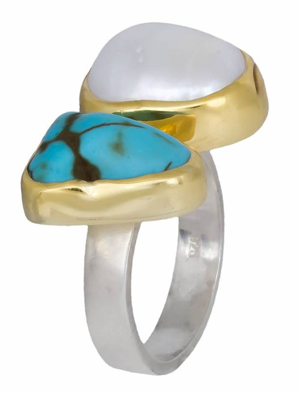 Χειροποίητο δίχρωμο δαχτυλίδι 925 020912 020912 Ασήμι