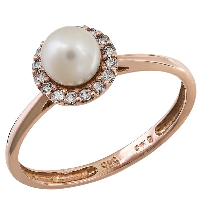Ροζ χρυσό δαχτυλίδι με Μαργαριτάρι Κ14 020931 020931 Χρυσός 14 Καράτια