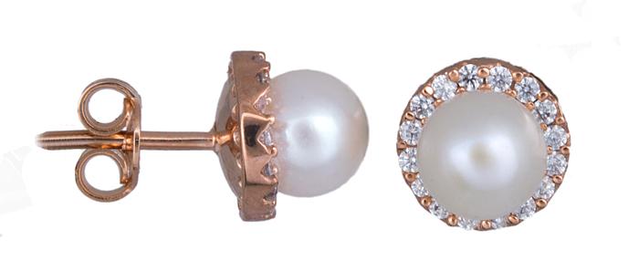 Σκουλαρίκια με μαργαριτάρια σε ροζ χρυσό Κ14 020934 020934 Χρυσός 14 Καράτια χρυσά κοσμήματα σκουλαρίκια καρφωτά