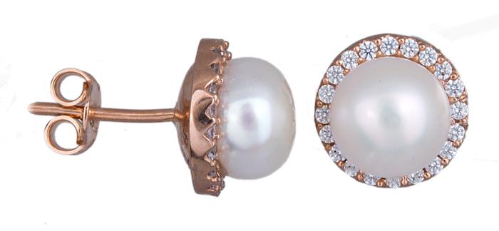 Σκουλαρίκια γυναικεία σε ροζ χρυσό Κ14 020935 020935 Χρυσός 14 Καράτια χρυσά κοσμήματα σκουλαρίκια καρφωτά