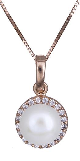 Κολιέ σε ροζ χρυσό με μαργαριτάρι Κ14 C020938 020938C Χρυσός 14 Καράτια
