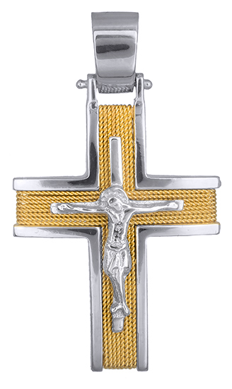 Σταυροί Βάπτισης - Αρραβώνα Συρματερός σταυρός με τον Εσταυρωμένο Κ14 020947 020947 Ανδρικό Χρυσός 14 Καράτια