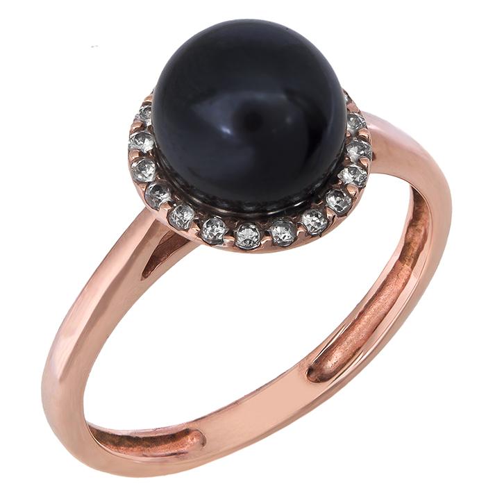 Δαχτυλίδι με μαύρο μαργαριτάρι Κ14 021012 021012 Χρυσός 14 Καράτια