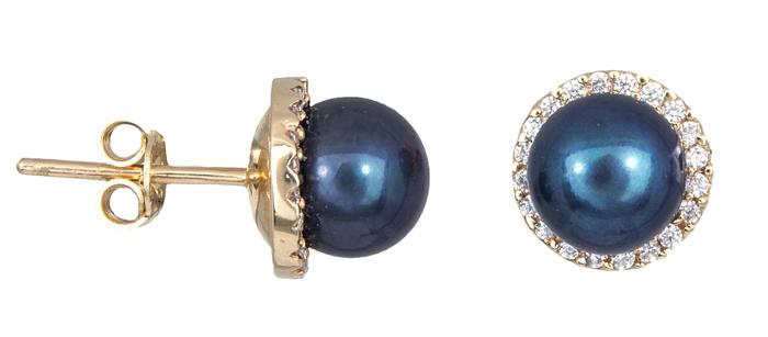 Σκουλαρίκια με μαύρα μαργαριτάρια Κ14 021013 021013 Χρυσός 14 Καράτια